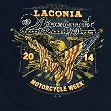 Laconia Bike Week 2014 T Shirt M 2nd Amendment Motorcycle Rally Eagle Flag Blue