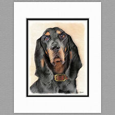 Black and Tan Coonhound Dog Original Art Print 8x10 Matted to 11x14