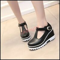 2016 Womens High Wedge Heel Platform T Strap Buckle Shoes Creeper Round Toe HOT