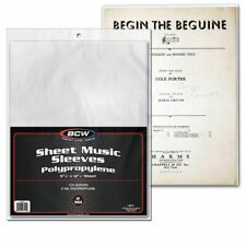 800 BCW Sheet Music Sleeves - acid free - archival quality collectible soft Poly