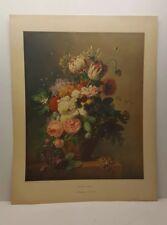 Vintage Lithograph Art Print Still Life Flowers Arnold Bloemers