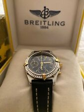 Breitling Chronomat 18k Gold Steel Chronograph Automatic Dial Blue Swiss as is