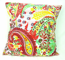 Indian Ethnic Cotton Kantha Cushion Cover Covers Handmade 16x16 decor