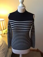 WHISTLES Black White Striped Cold Shoulder Jumper Top Size UK6 Long Sleeve