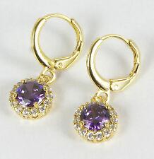 Women's 18 Carat Gold Plated Purple Zircon Huggie Hoop dangle Earrings Jewellery