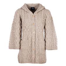 Ladies Long Merino Wool Cardigan with Hood by Aran Mills - Beige