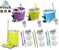 ARSUK Mop Handle Set With 2 Heads, Bucket Set 360° Microfiber Rotating Spin