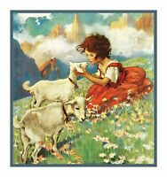 Heidi in Field with Lambs by Jessie Willcox Smith Counted Cross Stitch Pattern