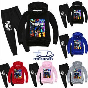 Kids Fortnite Hoodie+Pants Suit Long Sleeve Tracksuit Sportswear Gamer Clothes