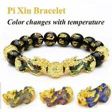 Feng Shui Black Obsidian Alloy Wealth Bracelet w/Golden Pixiu Lucky Jewelry New