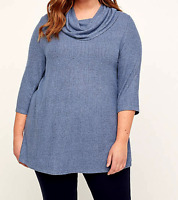 Catherine's 4X 30/32 Cowl Neck Swing Top Blue $55 Women's 3/4 Sleeve Bust 66