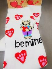 CRAZY CAT LADIES' SOCKS, BE MINE KITTY WITH LOVEHEARTS & PAWPRINTS - 7746