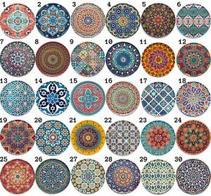 Turkish Ottoman Moroccan Persian Mandala Boho Design Drink Coasters Mats