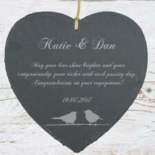 Personalised Engagement Gift Slate Plaque Bird Symbol SLA210-1
