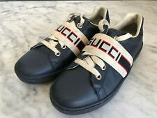 100% Authentic Gucci Navy Leather Ace Children's Trainers Size 33 Uk 1 Rrp £235