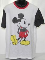 Disney Mickey Mouse Red White Black Ringer Tee T Shirt Size XL Cotton Polyester