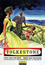 Vintage Family Stroll Folkestone Southern Railways  Rail Travel  Poster Print