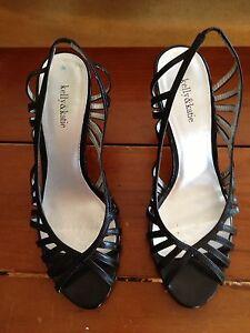 Kelly & Katie Women's Shoes Nadine Black Leather Strappy Heels Shoe Size 6.5