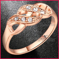 18K ROSE GOLD GF LADIES GIRLS SOLID INFINITY KISS CELTIC DRESS CRYSTAL BAND RING