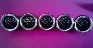 El Gauges 52mm (5pc) - Oil Pressure Temp Oil Temp Fuel Gauge Volt-Chrome