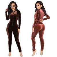 Fashion Women Solid Velvet Long Sleeve Zipped Bodycon Jumpsuit Clubwear Casual