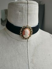 Vintage Pearl Classical Lady Cameo Black Velvet  Choker Necklace