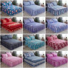 Home Flower Floral Bed Skirt / Pillowcase Dust Ruffle Bedspread Twin Queen King