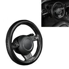 38CM Auto Car Steering Wheel Cover Protector Black PU Leather Anti-slip Braiding