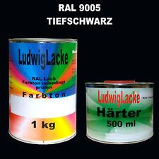 1 Liter 2K Acryl Autolack RAL 9005 schwarz & o,5 Liter Härter im Set glänzend