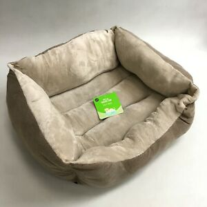 New Pet Collection Dog Bed Large One Piece Beige Square Fleece Padded Tag 483136