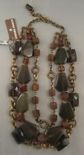 NEW NWT Stephen Dweck Triple Necklace Smoky Quartz Green Web Agate Amber Chunks