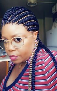 Fully hand braided Ghana banana medium braid  back down cornrow wig