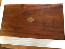 Antique Large Mahogany Lap Desk with Secret Drawers and Brass Inlay