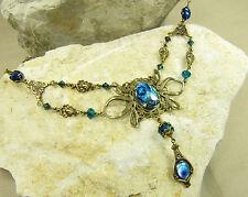 Halskette MEERESGÖTTIN, Collier blau Perlmutt Muschel Ozean Vintagestil handmade