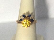 MARQUISE SAPPHIRE &  DIAMOND 14KT YELLOW GOLD RING WRAP JACKET ENHANCER