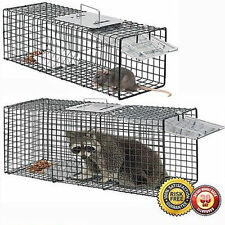 Animal Trap | Humane Large Steel Cage Rodent Spring Loaded 32x12x12 Raccoon Hm