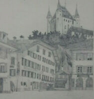 BLEISTIFT ZEICHNUNG Schloß Thun vor 1910 ca. 16,5 x 22,5 cm Karl Ehlers