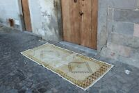"Vintage Turkish Handmade Yellow Kitchen Oushak Runner Rug  7'8""x3'2"""