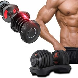 Adjustable Dumbbell intelligent Quick Automatic Fitnes Strength Workout Gym 24KG