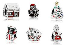 SALE 6pcs Christmas Silver Plated Charms to fit European Bracelets
