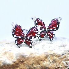 Red and Black Enamel Cloisonné Butterfly Earrings 925 Sterling Silver Canada
