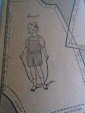 """PATRON ORIGINAL  POUPEE """" BLEUETTE """"COSTUME DE JEUX  JUIN 1917"""