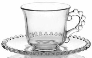 Antique Vintage Art Deco Depression Glass Cup Plate Saucer 4 Set Tea Coffee Gift