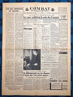 La Une Du Journal Combat 29 Septembre 1958 Résultat Référendum Constitutionnel