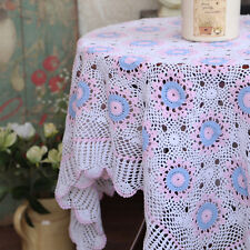 Lovely Hand Crochet Pink Blue White Floral Square Cotton Table Cloth L