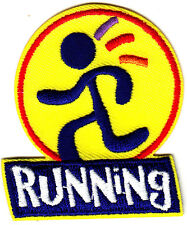 """RUNNING""- Iron On Embroidered Applique Patch -Sports, Words, Running,Exercise"