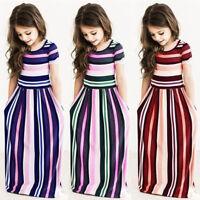 Kids Girls Striped Long Dress O Neck Party Beach Casual Prom Stylish Dresses US