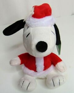 "Hallmark Peanuts Gang SANTA CLAUS SNOOPY 6"" Plush STUFFED ANIMAL Toy NEW"