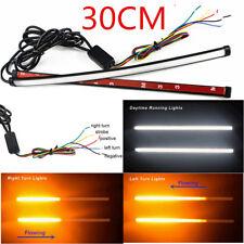 30cm White+Amber Car LED Kit Knight Rider Light Strip Strobe Sliding Turn Signal