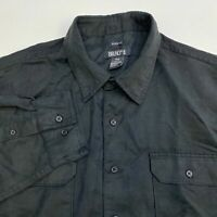Bruno Button Up Shirt Men's 2XLB Long Sleeve Black Faux Suede Casual Polyester